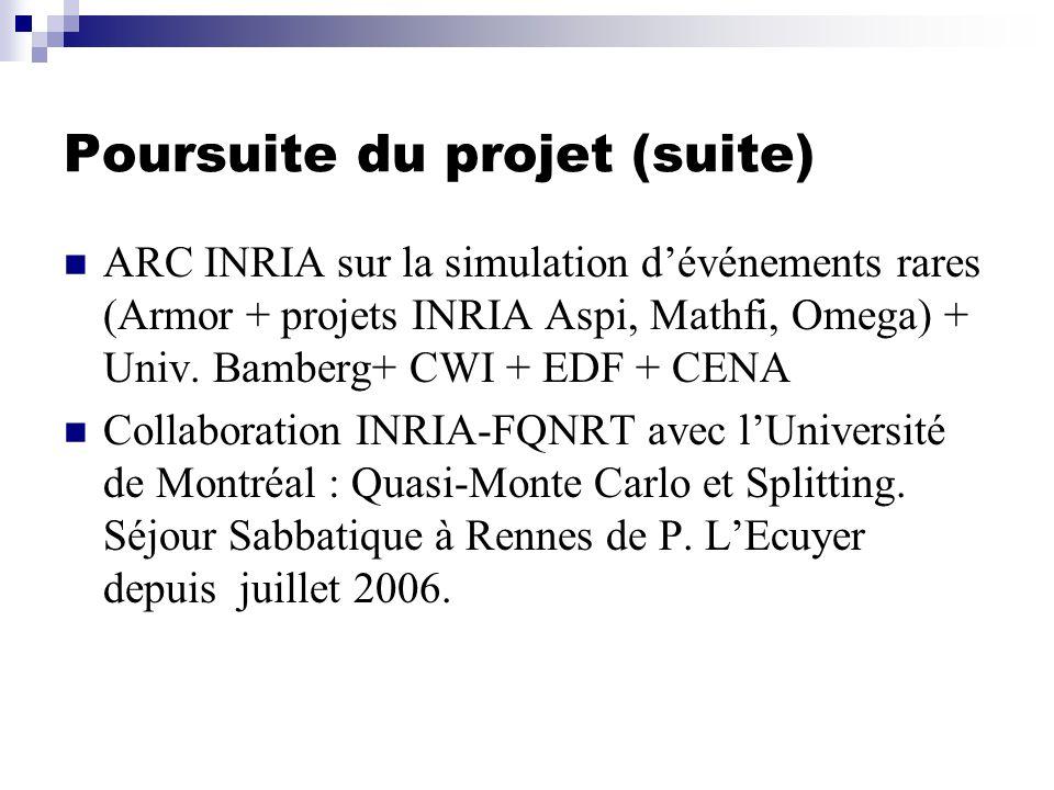 Poursuite du projet (suite) ARC INRIA sur la simulation dévénements rares (Armor + projets INRIA Aspi, Mathfi, Omega) + Univ.