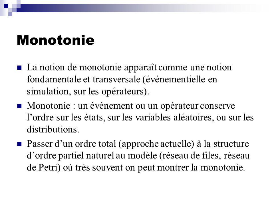 Monotonie La notion de monotonie apparaît comme une notion fondamentale et transversale (événementielle en simulation, sur les opérateurs).