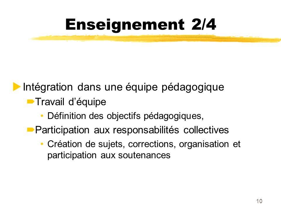 10 Enseignement 2/4 Intégration dans une équipe pédagogique Travail déquipe Définition des objectifs pédagogiques, Participation aux responsabilités c