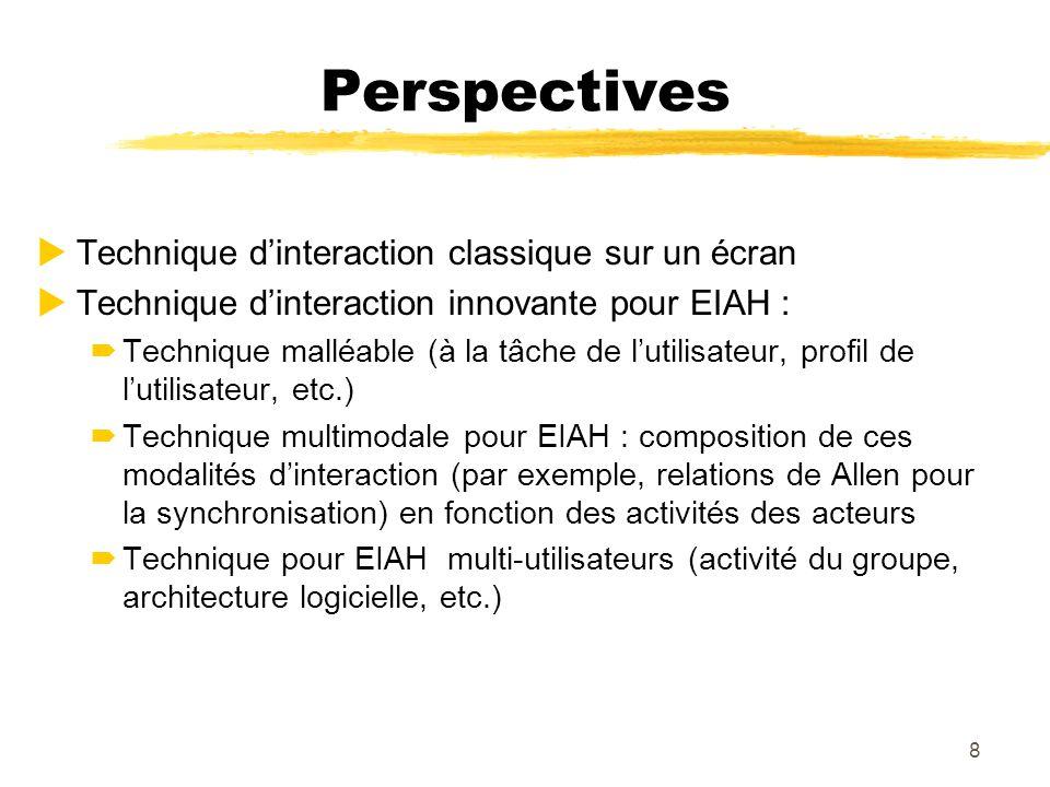 8 Perspectives Technique dinteraction classique sur un écran Technique dinteraction innovante pour EIAH : Technique malléable (à la tâche de lutilisat