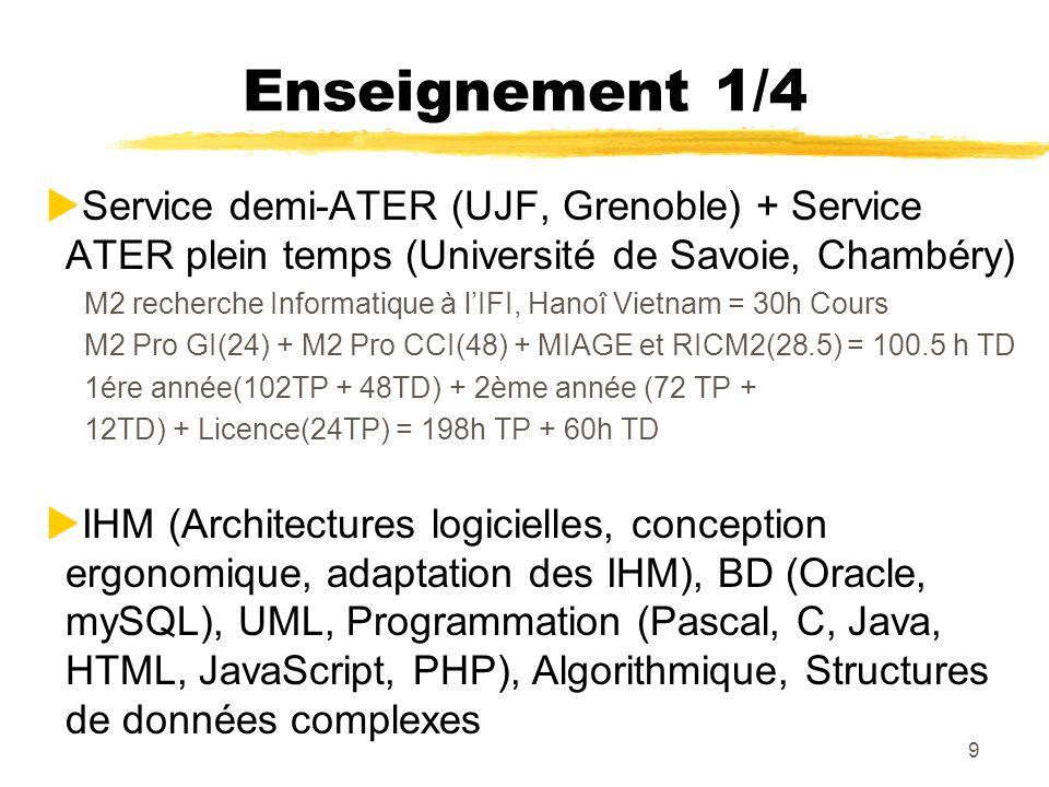 9 Enseignement 1/4 Service demi-ATER (UJF, Grenoble) + Service ATER plein temps (Université de Savoie, Chambéry) M2 recherche Informatique à lIFI, Han