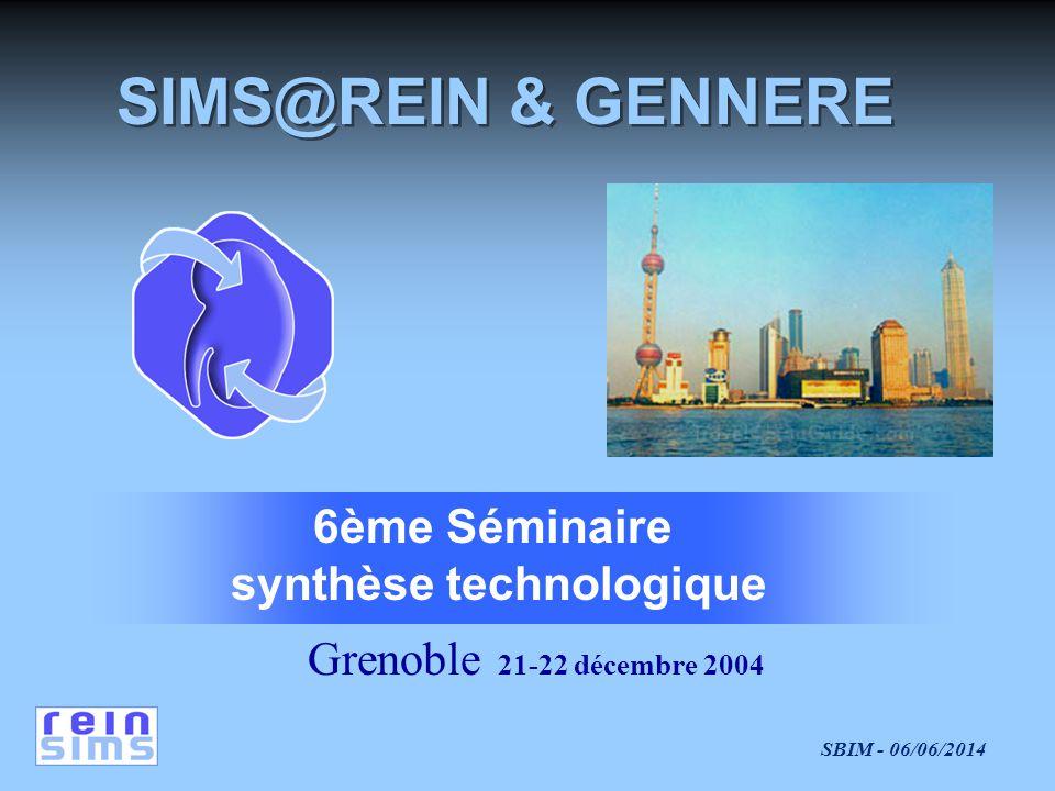 SBIM - 06/06/2014 Grenoble 21-22 décembre 2004 6ème Séminaire synthèse technologique SIMS@REIN & GENNERE