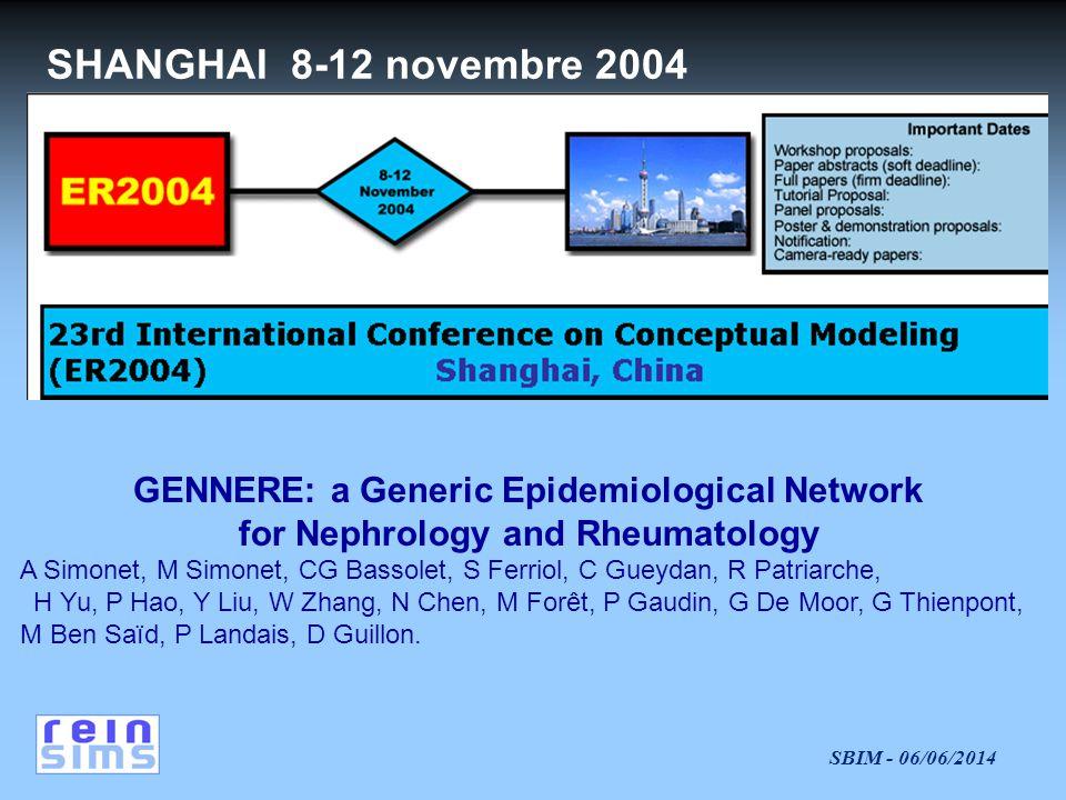SBIM - 06/06/2014 GENNERE: a Generic Epidemiological Network for Nephrology and Rheumatology A Simonet, M Simonet, CG Bassolet, S Ferriol, C Gueydan, R Patriarche, H Yu, P Hao, Y Liu, W Zhang, N Chen, M Forêt, P Gaudin, G De Moor, G Thienpont, M Ben Saïd, P Landais, D Guillon.