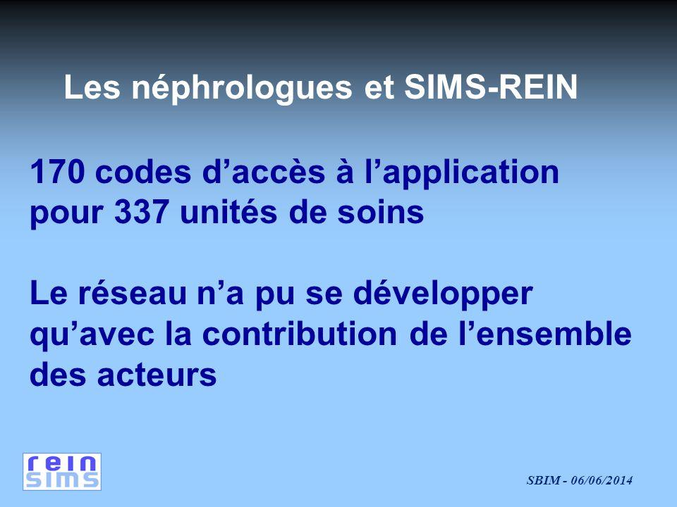 SBIM - 06/06/2014 Les néphrologues et SIMS-REIN 170 codes daccès à lapplication pour 337 unités de soins Le réseau na pu se développer quavec la contribution de lensemble des acteurs