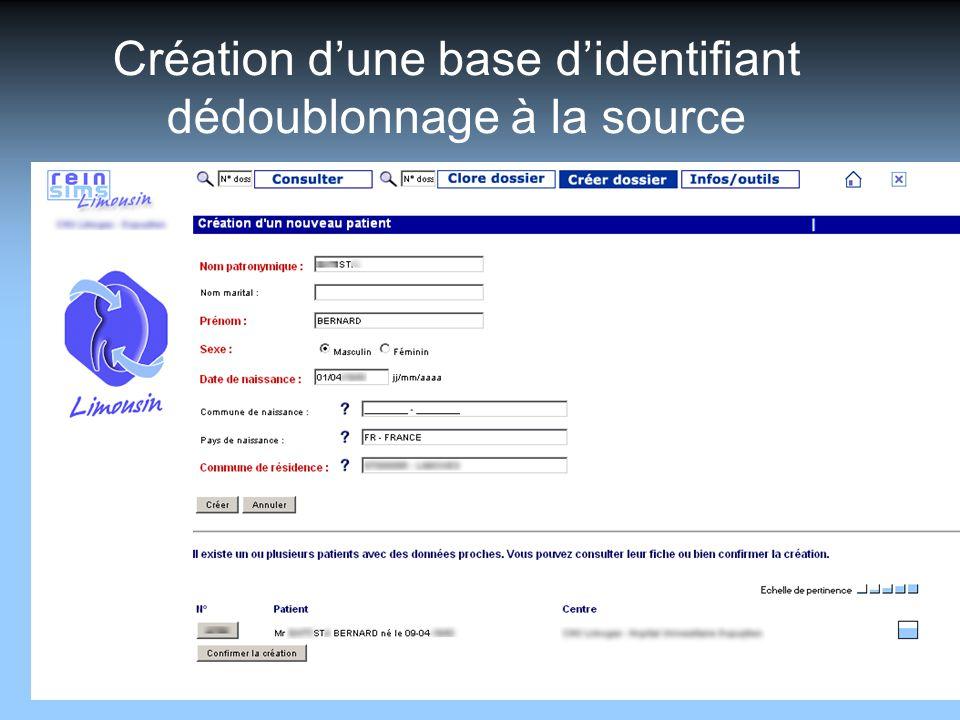 SBIM - 06/06/2014 Création dune base didentifiant dédoublonnage à la source