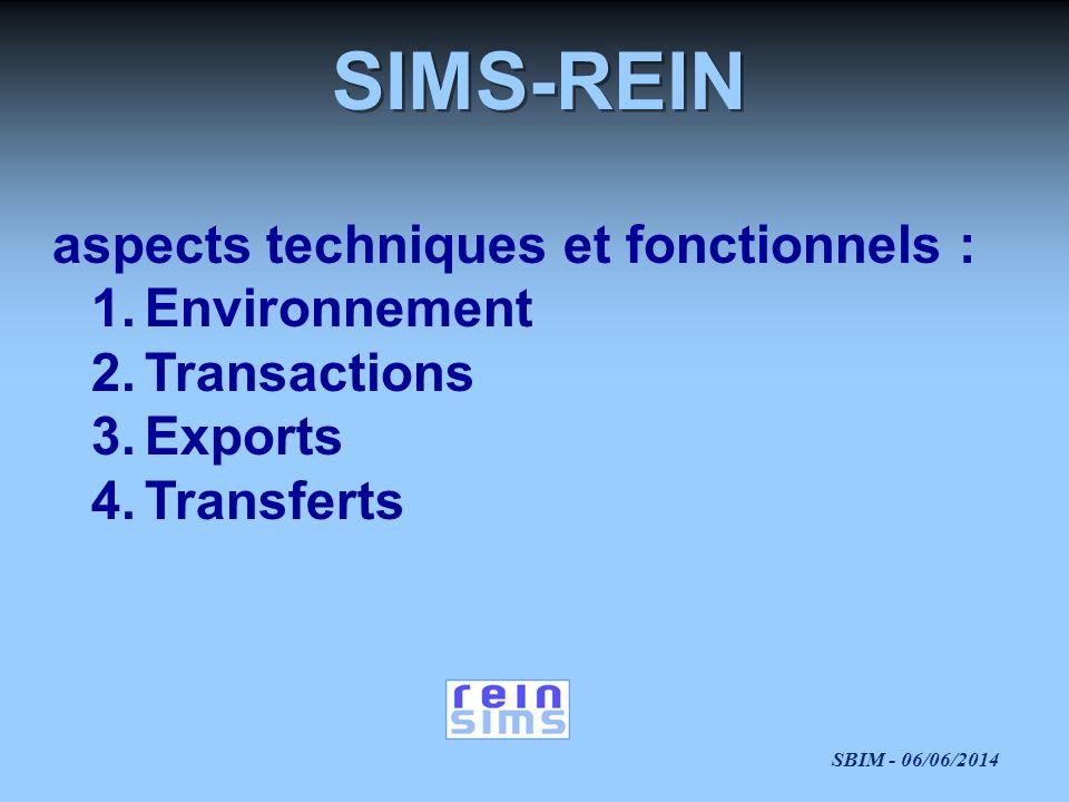 SBIM - 06/06/2014 SIMS-REIN aspects techniques et fonctionnels : 1.Environnement 2.Transactions 3.Exports 4.Transferts