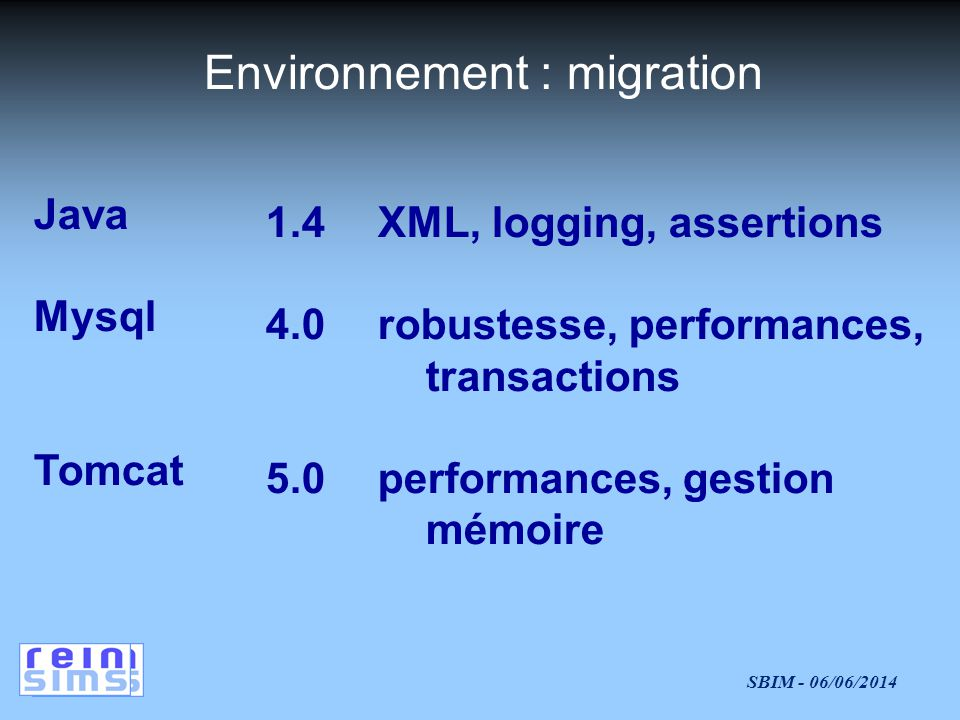 SBIM - 06/06/2014 Environnement : migration 1.4 4.0 5.0 Java Mysql Tomcat XML, logging, assertions robustesse, performances, transactions performances