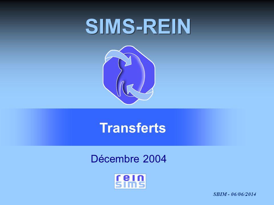 SBIM - 06/06/2014 SIMS-REIN Décembre 2004 Transferts