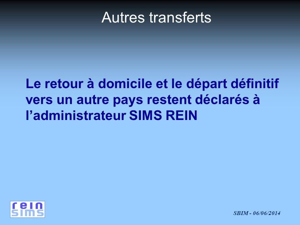 SBIM - 06/06/2014 Autres transferts Le retour à domicile et le départ définitif vers un autre pays restent déclarés à ladministrateur SIMS REIN