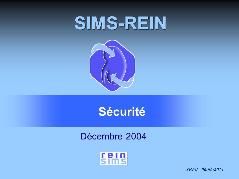 SBIM - 06/06/2014 SIMS-REIN Décembre 2004 Sécurité