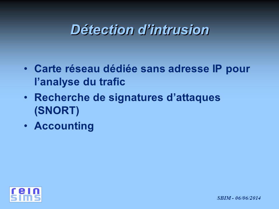 SBIM - 06/06/2014 Détection dintrusion Carte réseau dédiée sans adresse IP pour lanalyse du trafic Recherche de signatures dattaques (SNORT) Accounting