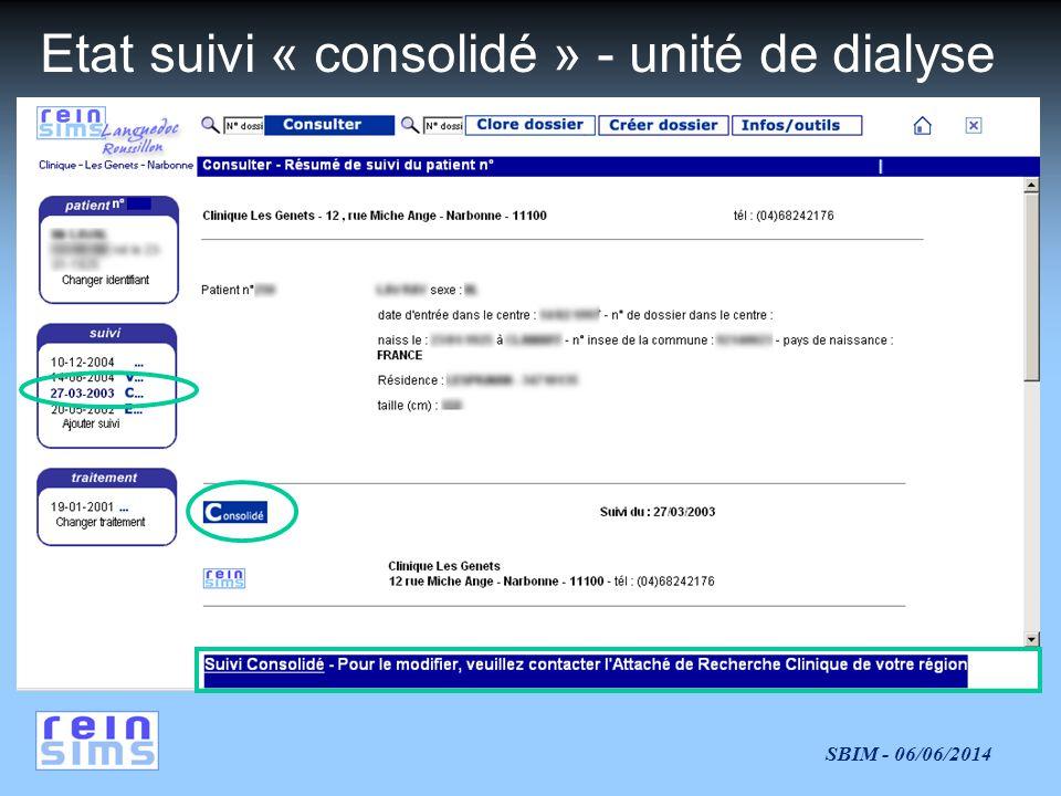 SBIM - 06/06/2014 Etat suivi « consolidé » - unité de dialyse