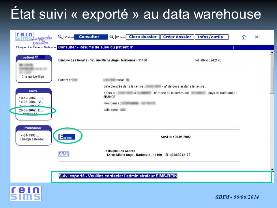 SBIM - 06/06/2014 État suivi « exporté » au data warehouse