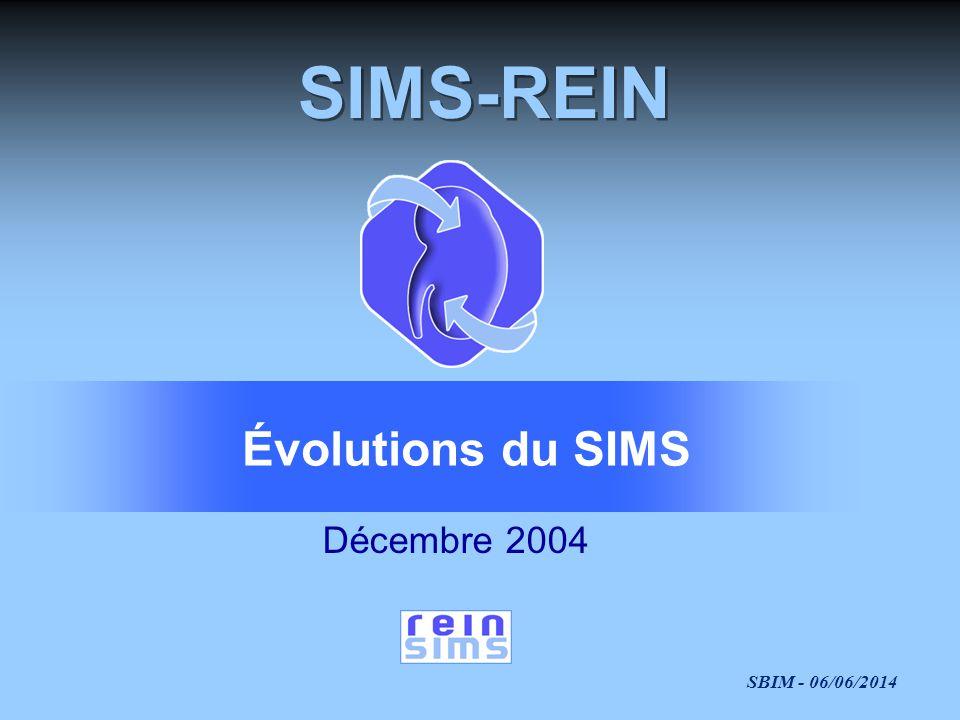 SBIM - 06/06/2014 SIMS-REIN Décembre 2004 Évolutions du SIMS