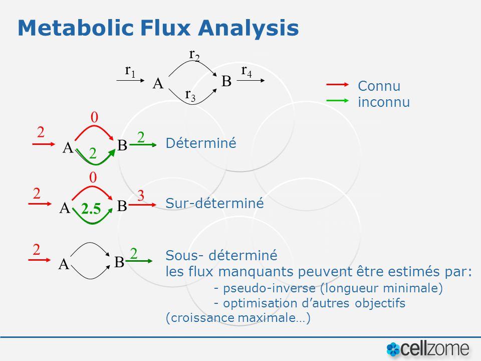 Metabolic Flux Analysis r1r1 r2r2 r3r3 r4r4 A B Sous- déterminé les flux manquants peuvent être estimés par: - pseudo-inverse (longueur minimale) - op