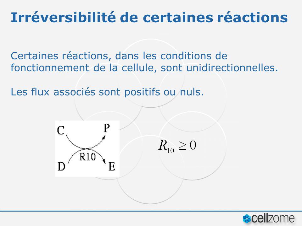 Irréversibilité de certaines réactions Certaines réactions, dans les conditions de fonctionnement de la cellule, sont unidirectionnelles. Les flux ass