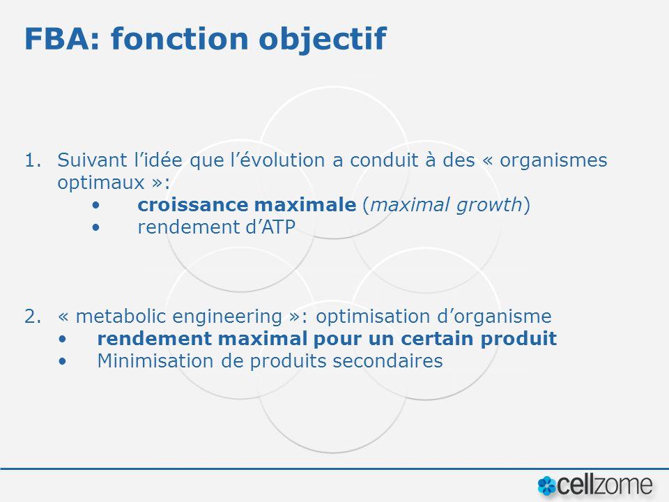 FBA: fonction objectif 1.Suivant lidée que lévolution a conduit à des « organismes optimaux »: croissance maximale (maximal growth) rendement dATP 2.«