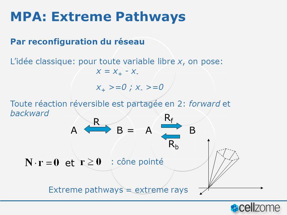 MPA: Extreme Pathways Par reconfiguration du réseau Lidée classique: pour toute variable libre x, on pose: x = x + - x - x + >=0 ; x - >=0 Toute réact