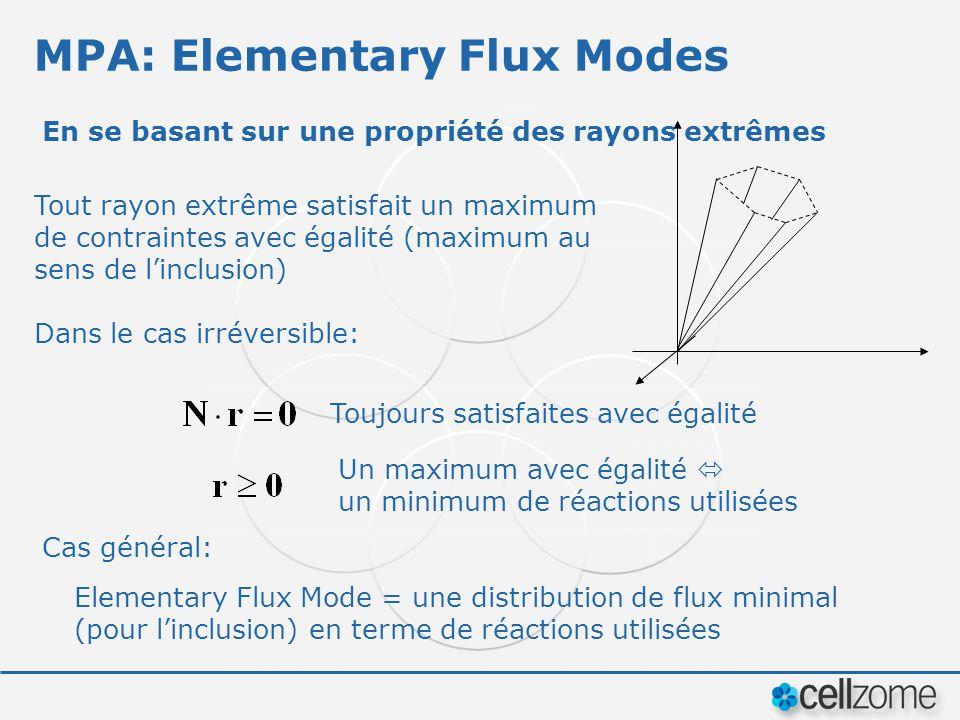 MPA: Elementary Flux Modes En se basant sur une propriété des rayons extrêmes Tout rayon extrême satisfait un maximum de contraintes avec égalité (max