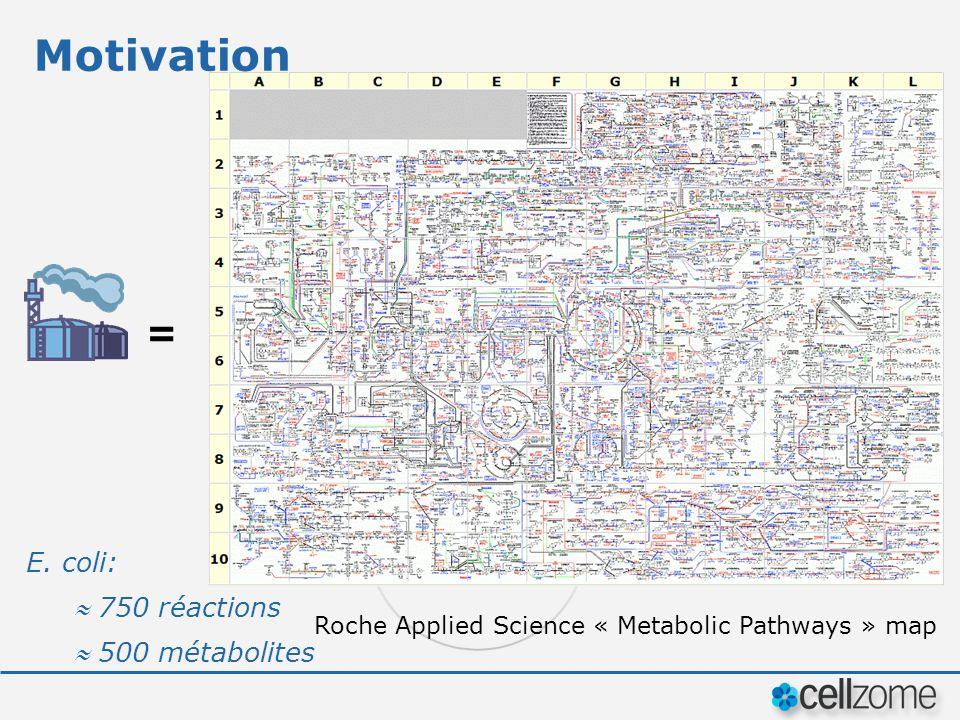 Motivation = Roche Applied Science « Metabolic Pathways » map E. coli: 750 réactions 500 métabolites