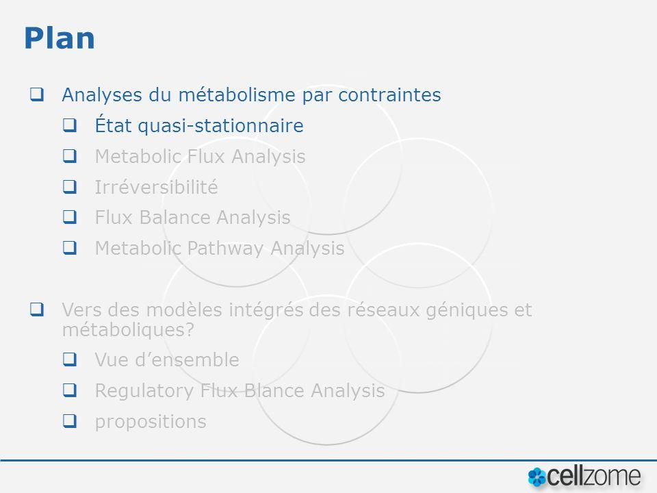 Plan Analyses du métabolisme par contraintes État quasi-stationnaire Metabolic Flux Analysis Irréversibilité Flux Balance Analysis Metabolic Pathway A