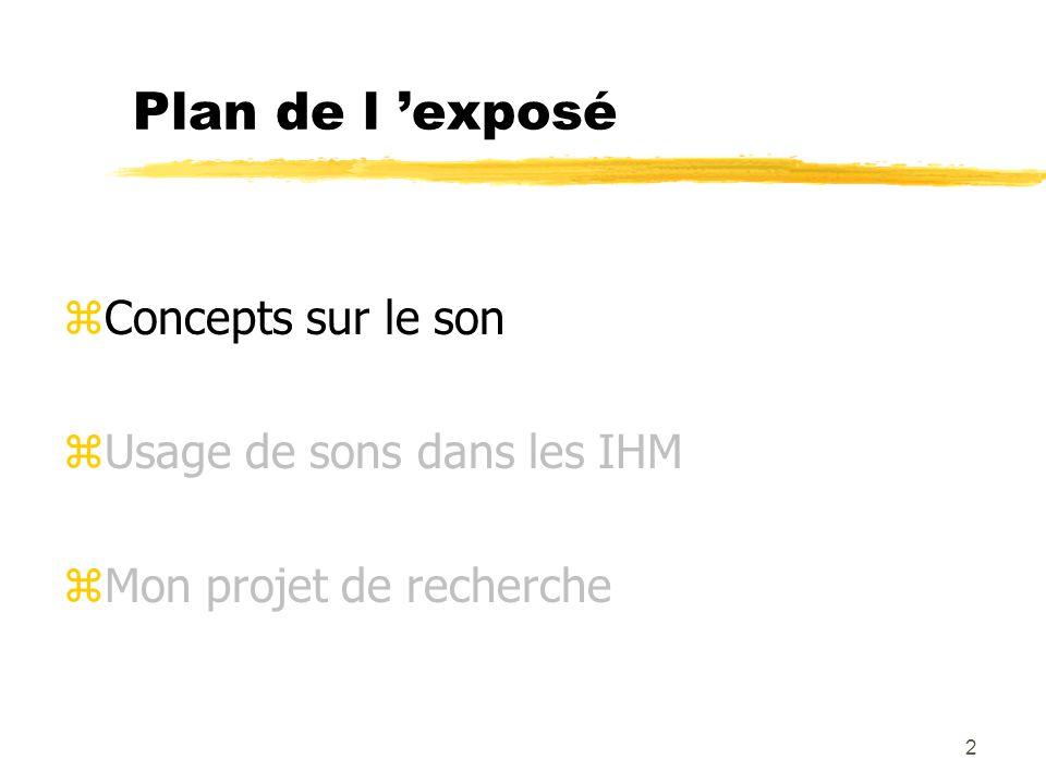 2 Plan de l exposé zConcepts sur le son zUsage de sons dans les IHM zMon projet de recherche