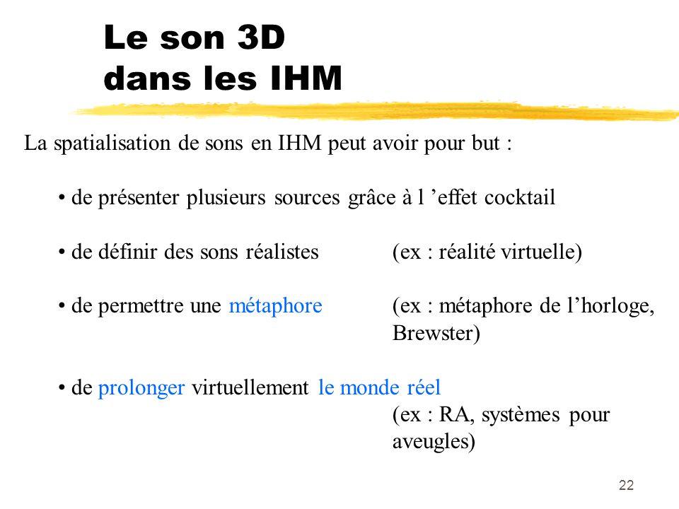 22 Le son 3D dans les IHM La spatialisation de sons en IHM peut avoir pour but : de présenter plusieurs sources grâce à l effet cocktail de définir de