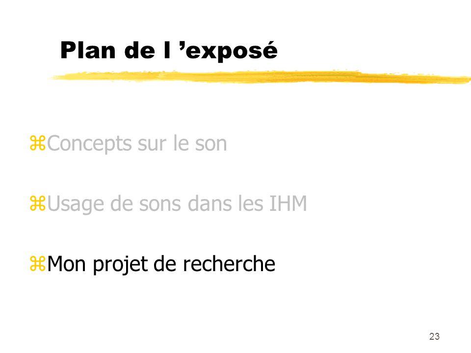 23 Plan de l exposé zConcepts sur le son zUsage de sons dans les IHM zMon projet de recherche