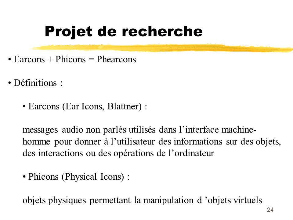 24 Projet de recherche Earcons + Phicons = Phearcons Définitions : Earcons (Ear Icons, Blattner) : messages audio non parlés utilisés dans linterface