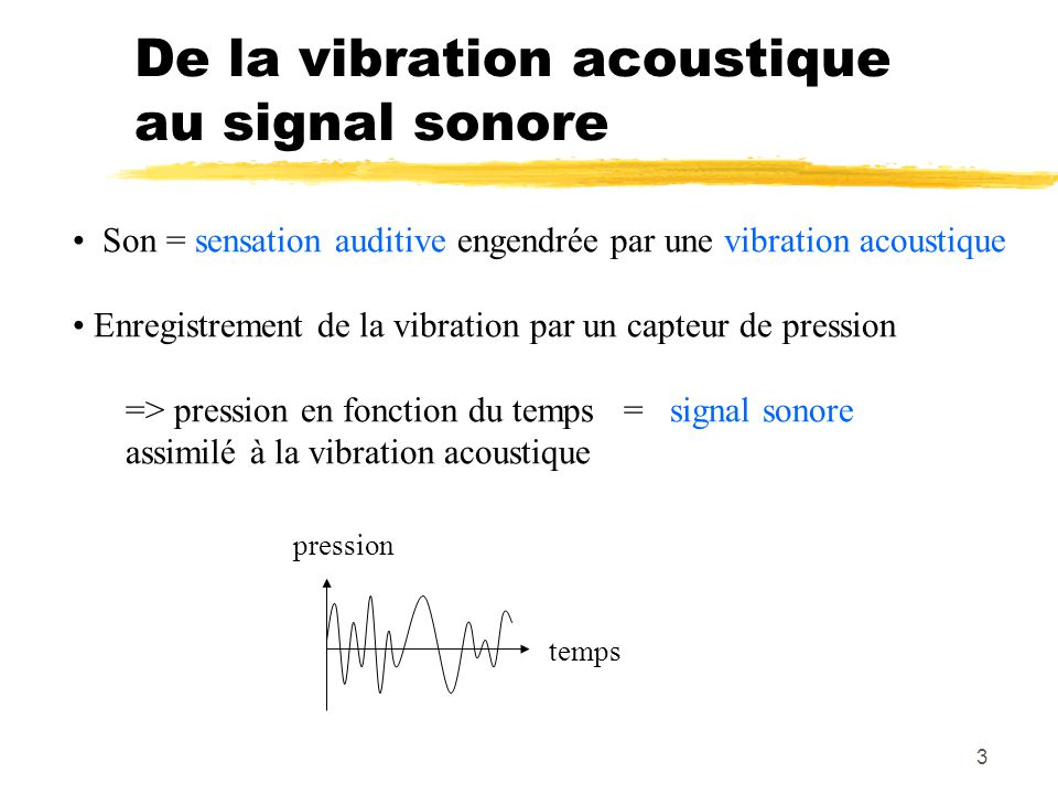 3 De la vibration acoustique au signal sonore Son = sensation auditive engendrée par une vibration acoustique Enregistrement de la vibration par un ca