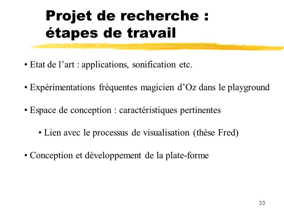 33 Projet de recherche : étapes de travail Etat de lart : applications, sonification etc. Expérimentations fréquentes magicien dOz dans le playground
