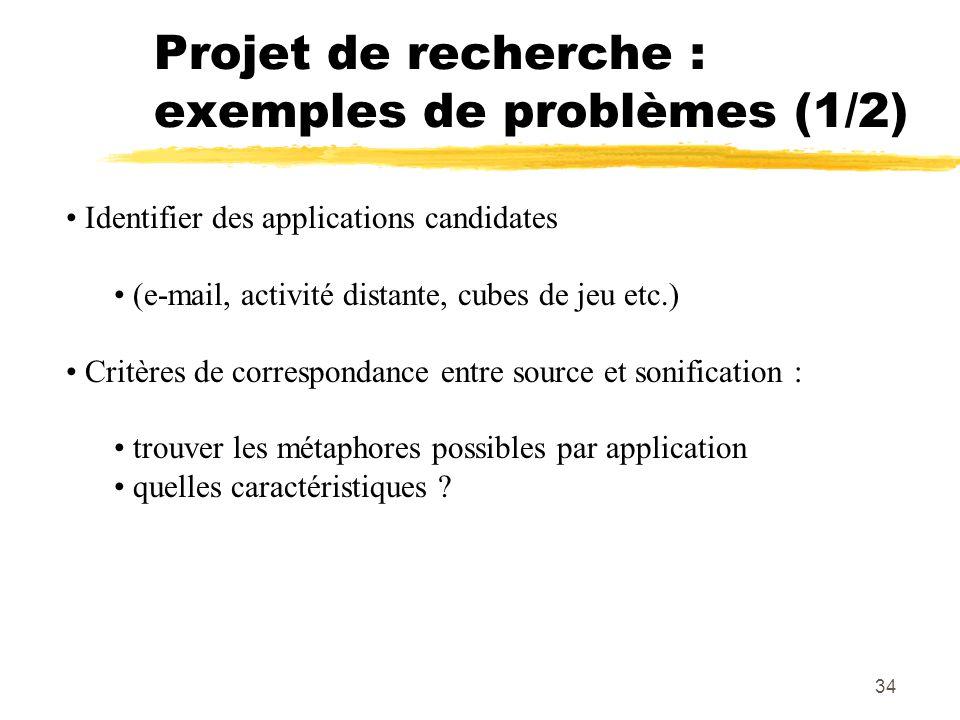 34 Projet de recherche : exemples de problèmes (1/2) Identifier des applications candidates (e-mail, activité distante, cubes de jeu etc.) Critères de