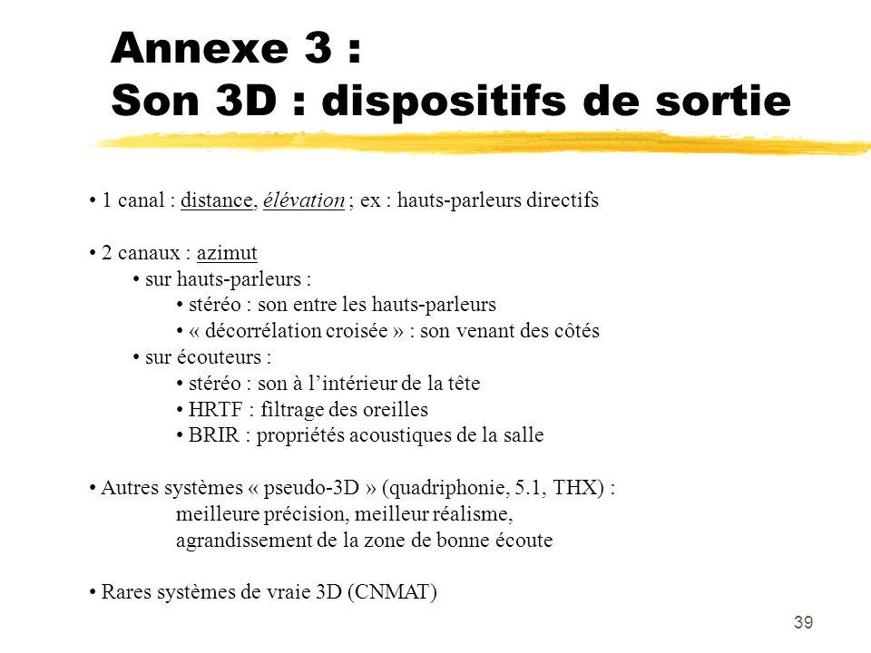 39 Annexe 3 : Son 3D : dispositifs de sortie 1 canal : distance, élévation ; ex : hauts-parleurs directifs 2 canaux : azimut sur hauts-parleurs : stér