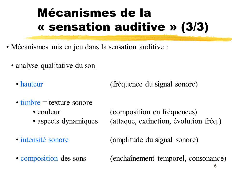 6 Mécanismes de la « sensation auditive » (3/3) Mécanismes mis en jeu dans la sensation auditive : analyse qualitative du son hauteur(fréquence du sig