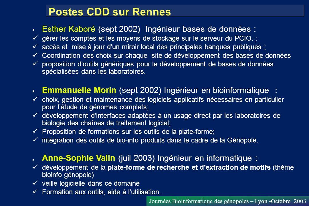 Journées Bioinformatique des génopoles – Lyon -Octobre 2003 Esther Kaboré (sept 2002) Ingénieur bases de données : gérer les comptes et les moyens de
