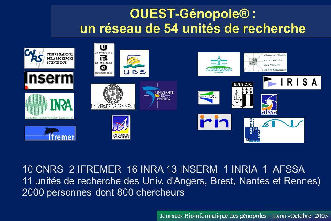 Journées Bioinformatique des génopoles – Lyon -Octobre 2003 OUEST-Génopole® : un réseau de 54 unités de recherche 10 CNRS 2 IFREMER 16 INRA 13 INSERM