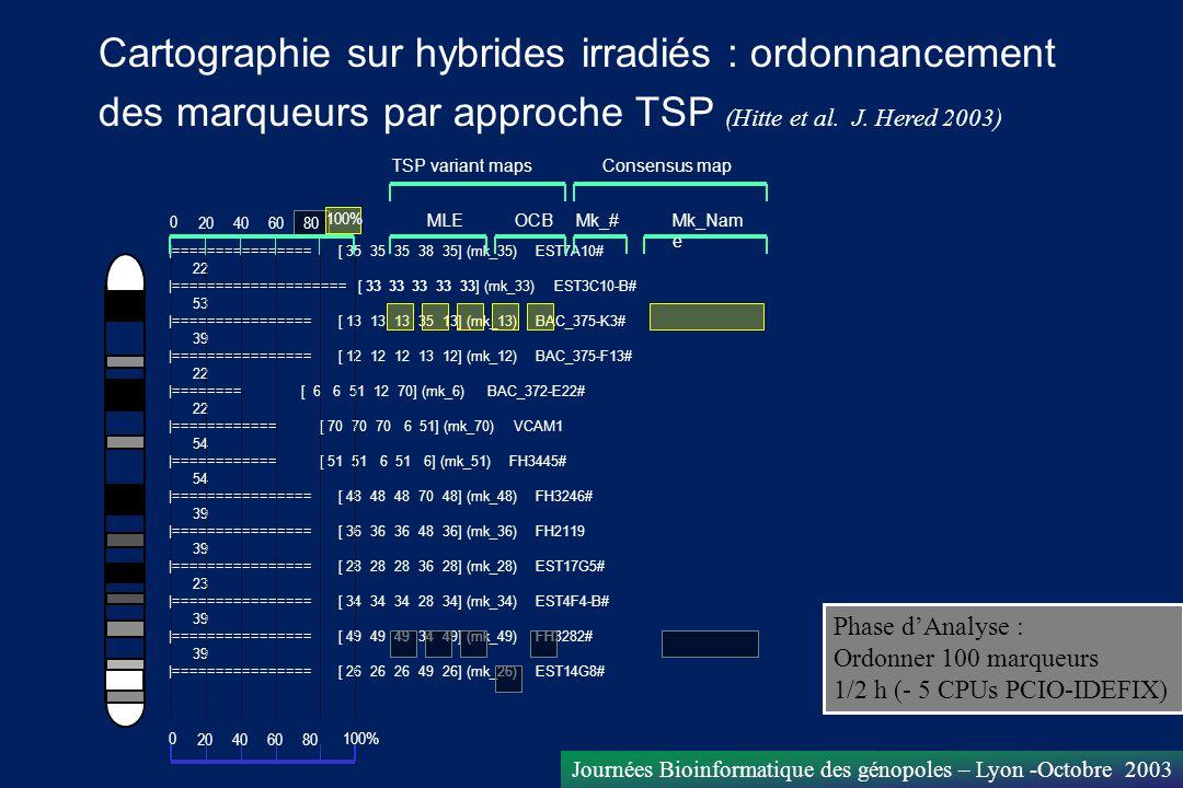 Journées Bioinformatique des génopoles – Lyon -Octobre 2003 |================ [ 35 35 35 38 35] (mk_35) EST7A10# 22 |==================== [ 33 33 33 3