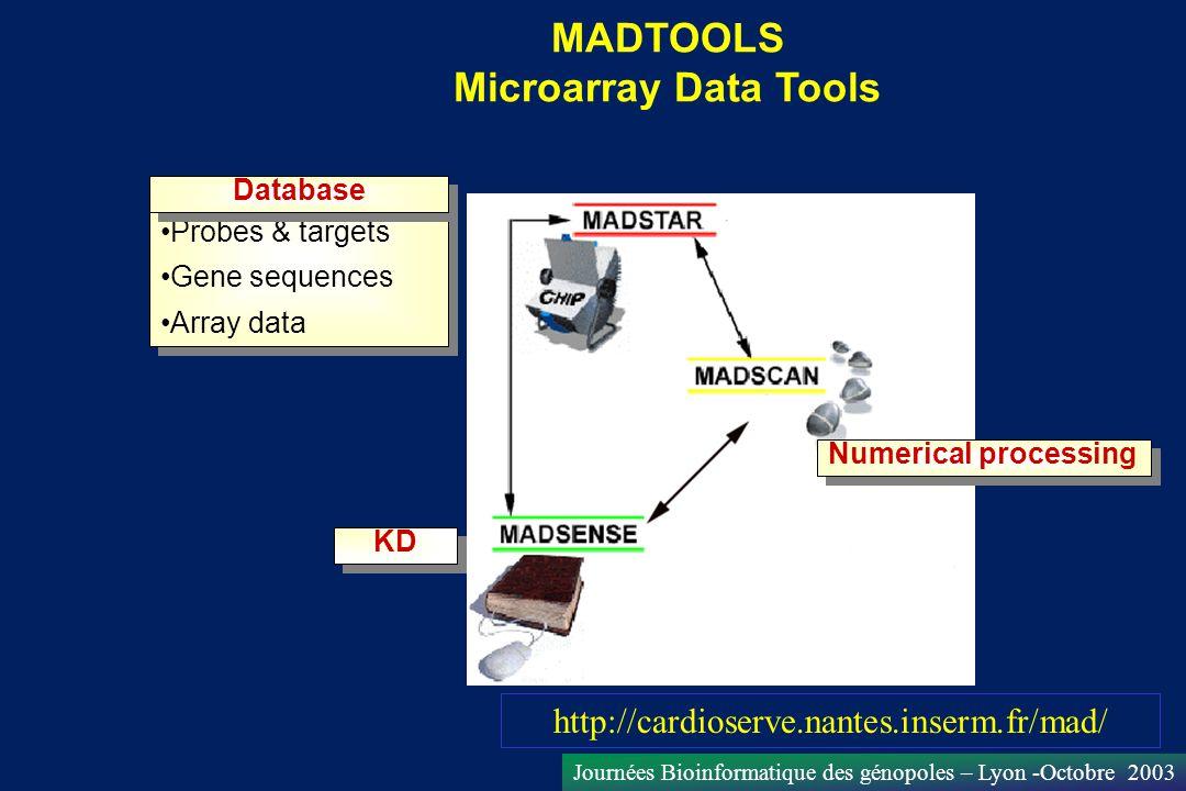 Journées Bioinformatique des génopoles – Lyon -Octobre 2003 Numerical processing KD Database Probes & targets Gene sequences Array data Database Probe