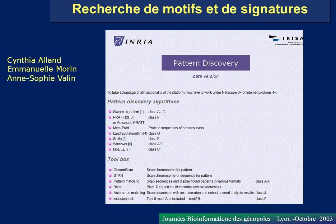 Journées Bioinformatique des génopoles – Lyon -Octobre 2003 Recherche de motifs et de signatures Cynthia Alland Emmanuelle Morin Anne-Sophie Valin