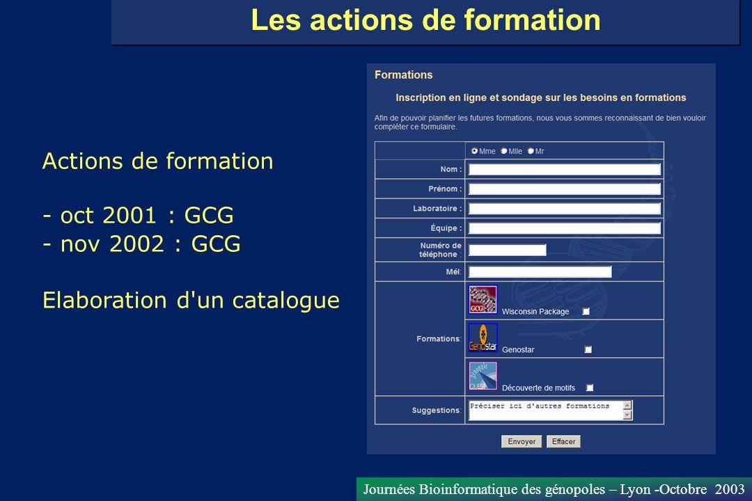 Journées Bioinformatique des génopoles – Lyon -Octobre 2003 Les actions de formation Actions de formation - oct 2001 : GCG - nov 2002 : GCG Elaboratio