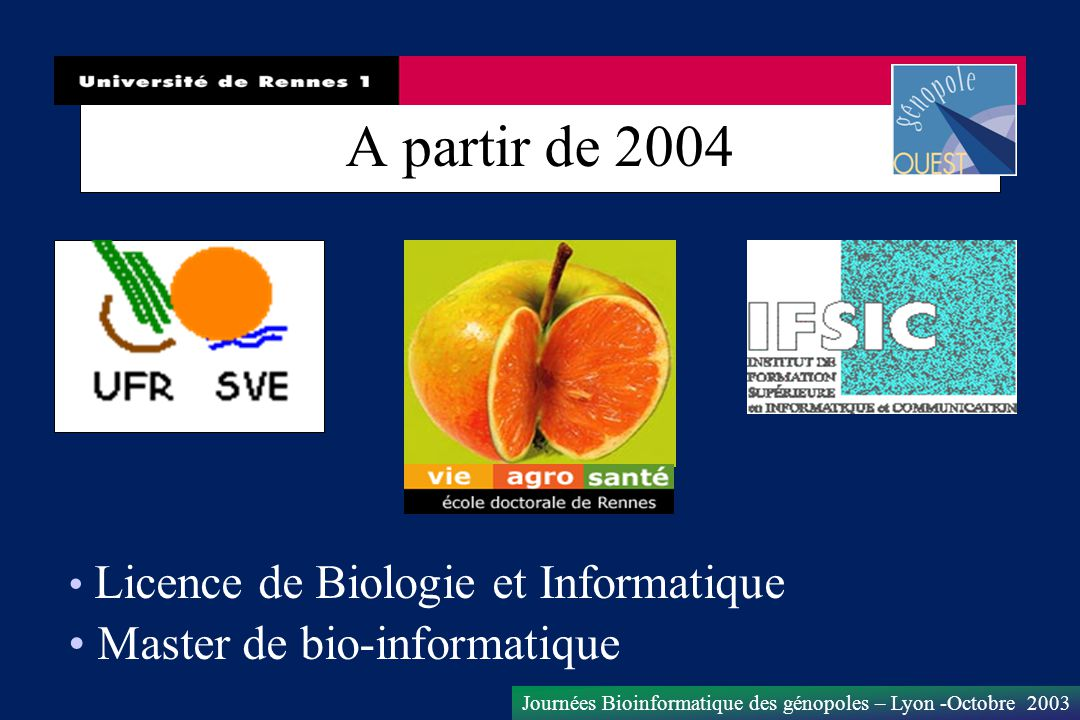 Journées Bioinformatique des génopoles – Lyon -Octobre 2003 A partir de 2004 Licence de Biologie et Informatique Master de bio-informatique