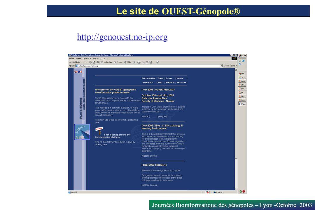 Journées Bioinformatique des génopoles – Lyon -Octobre 2003 Le site de OUEST-Génopole® http://genouest.no-ip.org