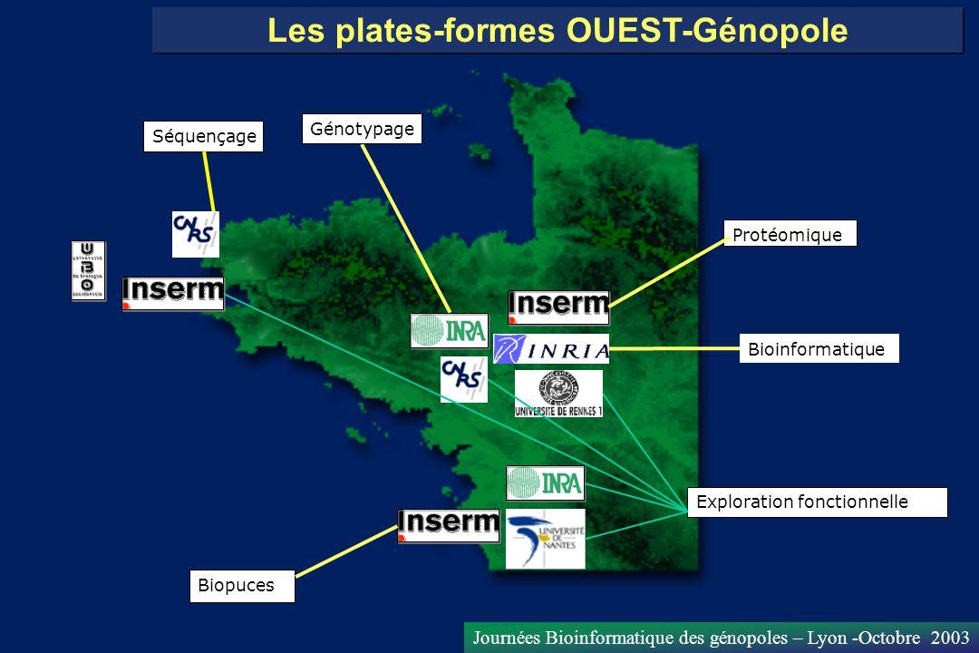 Journées Bioinformatique des génopoles – Lyon -Octobre 2003 Les plates-formes OUEST-Génopole Séquençage Biopuces Protéomique Exploration fonctionnelle