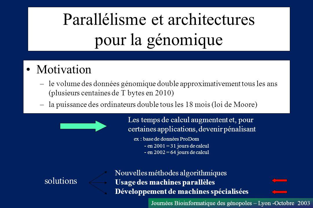 Journées Bioinformatique des génopoles – Lyon -Octobre 2003 Parallélisme et architectures pour la génomique Motivation –le volume des données génomiqu