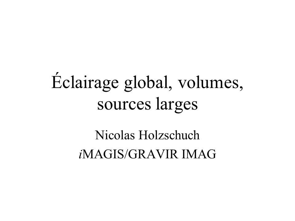 Éclairage global Techniques locales : –textures, BRDF, rendu volumique Techniques globales : –radiosité, lancer de rayons