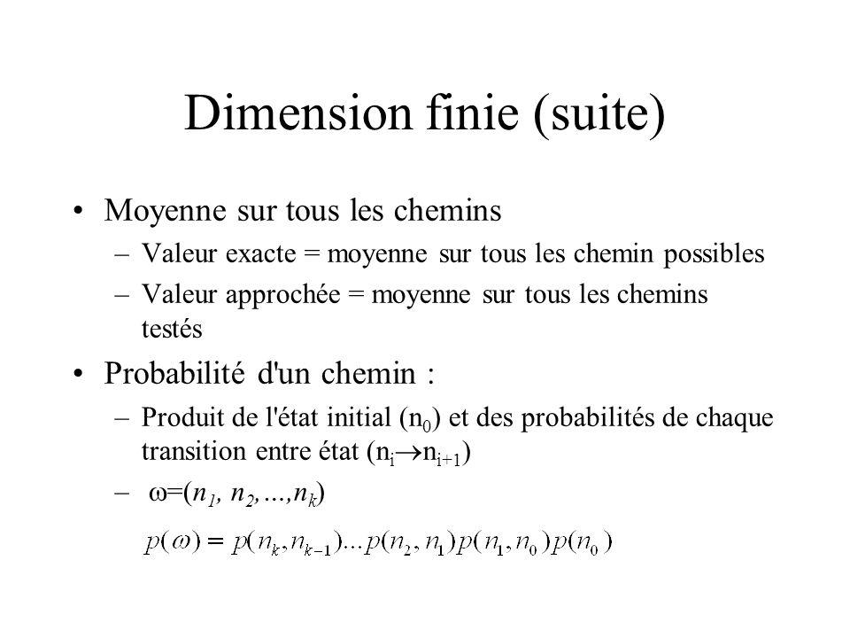 Dimension finie (suite) Moyenne sur tous les chemins –Valeur exacte = moyenne sur tous les chemin possibles –Valeur approchée = moyenne sur tous les chemins testés Probabilité d un chemin : –Produit de l état initial (n 0 ) et des probabilités de chaque transition entre état (n i n i+1 ) – =(n 1, n 2,…,n k )