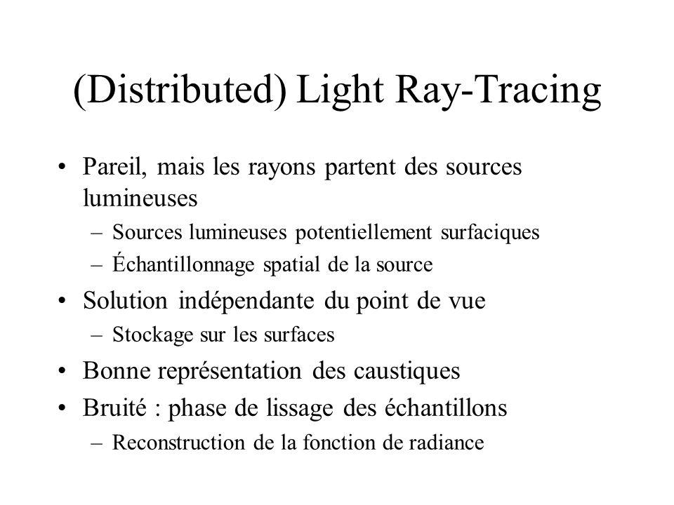 (Distributed) Light Ray-Tracing Pareil, mais les rayons partent des sources lumineuses –Sources lumineuses potentiellement surfaciques –Échantillonnage spatial de la source Solution indépendante du point de vue –Stockage sur les surfaces Bonne représentation des caustiques Bruité : phase de lissage des échantillons –Reconstruction de la fonction de radiance
