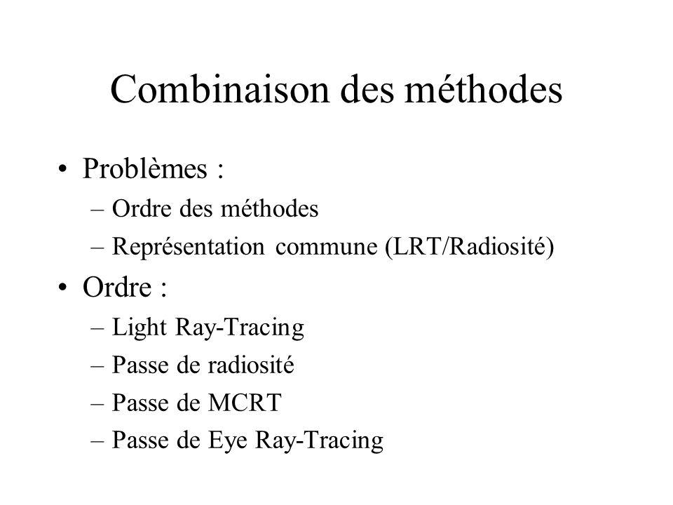 Combinaison des méthodes Problèmes : –Ordre des méthodes –Représentation commune (LRT/Radiosité) Ordre : –Light Ray-Tracing –Passe de radiosité –Passe de MCRT –Passe de Eye Ray-Tracing