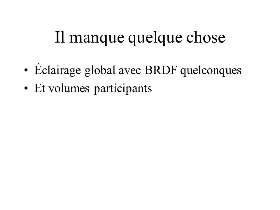 Il manque quelque chose Éclairage global avec BRDF quelconques Et volumes participants