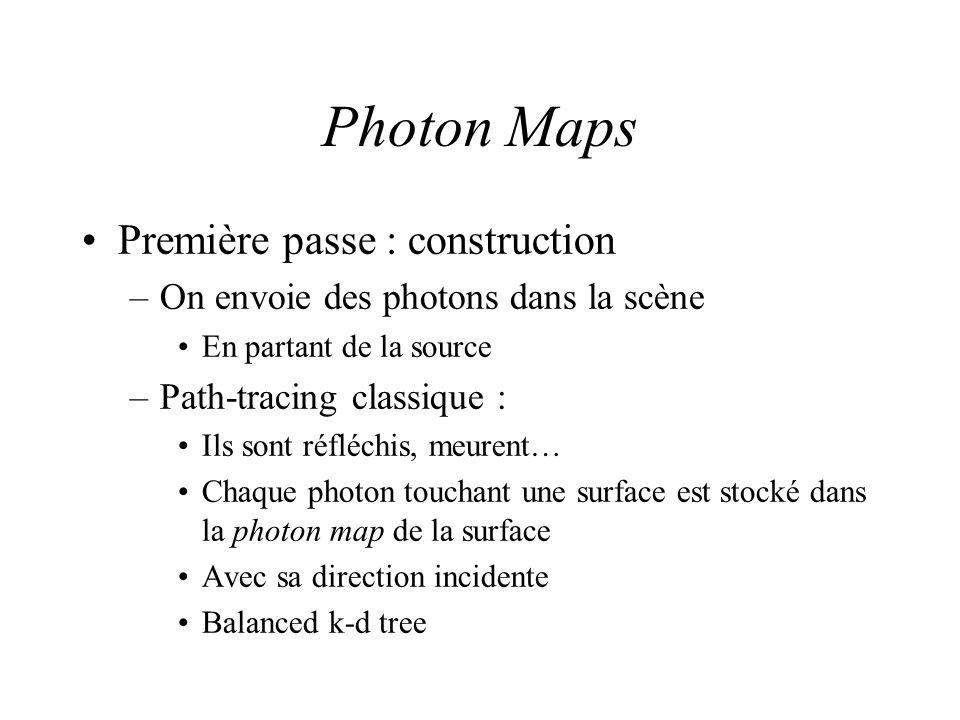 Photon Maps Première passe : construction –On envoie des photons dans la scène En partant de la source –Path-tracing classique : Ils sont réfléchis, meurent… Chaque photon touchant une surface est stocké dans la photon map de la surface Avec sa direction incidente Balanced k-d tree